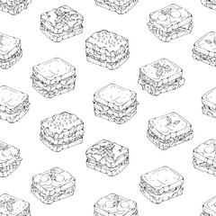 Pattern of vector illustrations on the fast food theme; set of different kinds of sandwiches.