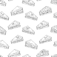 Pattern of vector illustrations on the fast food theme; set of different kinds of pieces sandwiches.