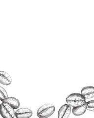 Hand drawn coffee beans frame isolated on white