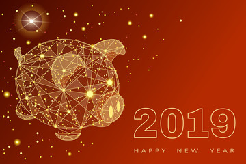 Cute funny pig. Happy New Year. Chinese symbol of the 2019 year. Excellent festive gift card. Vector illustration on red background.