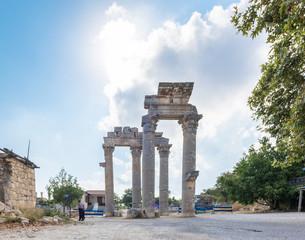 Marble Ceremonial Gate columns entrance of  Uzuncaburc Ancient city located in Uzuncaburc,Silifke,Mersin,Turkey.29 August 2017