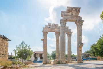 Marble Ceremonial Gate columns entrance of  Uzuncaburc Ancient city located in Uzuncaburc,Silifke,Mersin,Turkey