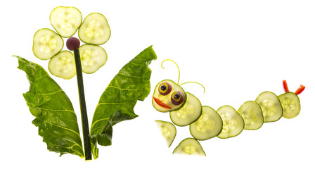 flower and catepillar from vegetable - food for children