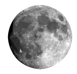 The Moon in Low Poly Style on White Background