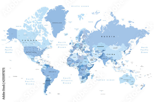 Colourful Illustration of a world map showing country names, State ...