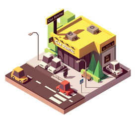 Vector isometric car rental office