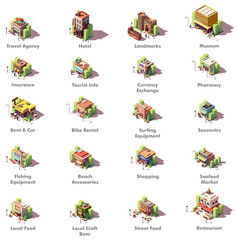 Vector isometric travel icons