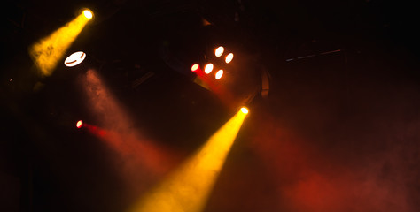 Red and yellow spot lights with strong beams