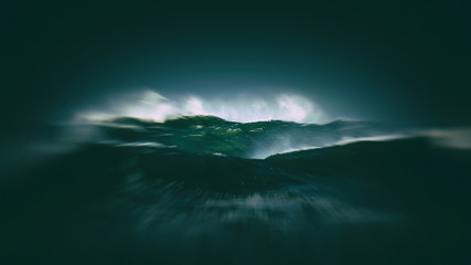 big waves with stormy weather and blur motion effect