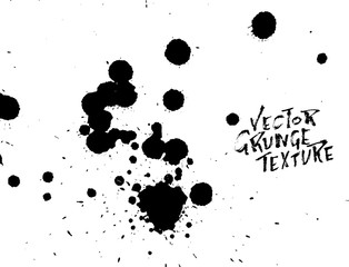Handdrawn grunge texture. Abstract ink drops background. Black and white grunge illustration. Vector watercolor artwork pattern.