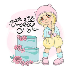 CAKE GIRL Color Vector Illustration Set for Scrapbooking and Digital Print on Card and Photo Children's Albums
