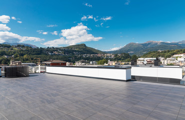 Panoramic view of the exteriors from the last floor of the modern building, urban landscape, nobody