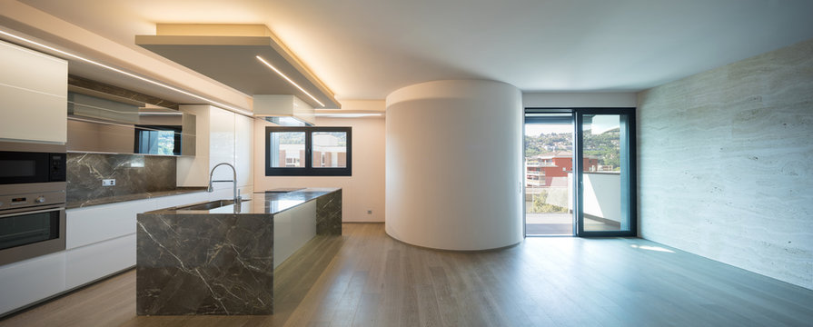 Interior of modern luxury apartment, empty attic, kitchen open space