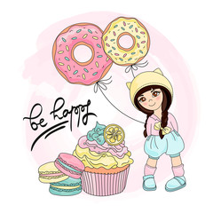 SWEETY GIRL Color Vector Illustration Set for Scrapbooking and Digital Print on Card and Photo Children's Albums