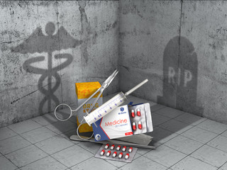 Medicine concept. Help and harm. Medical objects cast shadows in form of medical sign and shape of grave. 3d illustration
