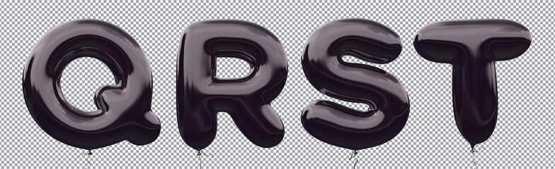 Black balloon alphabet Q,R,S,T made of realistic metallic air balloon 3d rendering. Collection of brilliant balloons letter with Clipping path ready to use for your unique font Halloween & more design