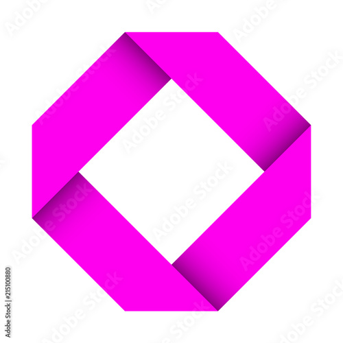paper logo pink folded 3d sign stock image and royalty free vector