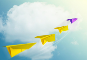 Leadership Concept. Unique Paper Plane Leading the Team into the Sky for Goals and Success in Business