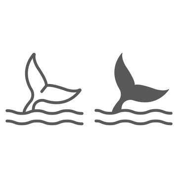 Whale tail line and glyph icon, aquatic and animal, sea life sign, vector graphics, a linear pattern on a white background, eps 10.