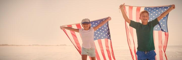 Happy children taking an american flag