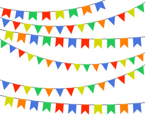 Festive multicolored bright flags, garlands of bunting isolated on white background. Vector illustration.