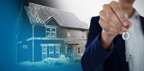 Composite image of mid section of businesswoman showing house