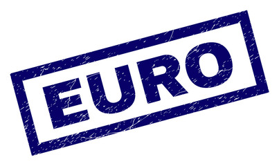 Rectangle EURO seal print with corroded texture. Rubber seal imitation has rectangular frame. Blue vector rubber print of EURO tag with retro texture.