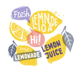 lemon with leaf and text