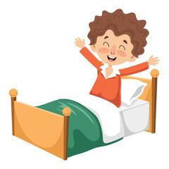 Vector Illustration Of Kid Waking Up