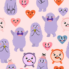 Cute cartoon. Funny monsters, heart, love. Vector seamless pattern.