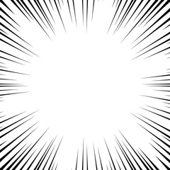 Background radial lines on a white background. Comic book speed, explosion. Vector illustration for graphic design.
