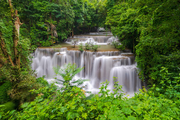 Beautiful waterfall in deep forest, Huay Mae Kamin Waterfall in Kanchanaburi Province, Thailand