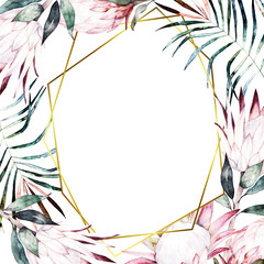 Watercolor floral  geometric template with protea for wedding cards, invitations, Easter, birthday. Hand drawn illustration