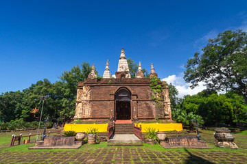 Wat Chet Yot, seven pagoda temple It is a major tourist attraction in Chiang Mai, Thailand.with evening,Temple in Chiang Mai.