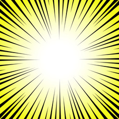 Radial lines on a yellow and white background. Comic book speed, explosion. Vector illustration for graphic design.