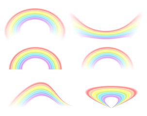 A selection of rainbow, different options on isolated white background. Vector illustration for your design. The symbol of the ended rain.