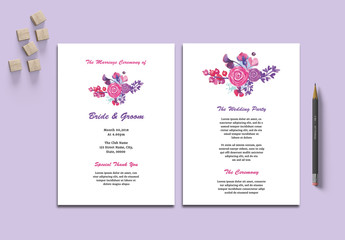 Wedding Program Layout with Floral Elements