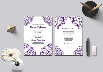 Wedding Program Layout with Purple Ornamental Elements