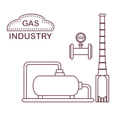 Gas processing plant. Industrial gas meter.