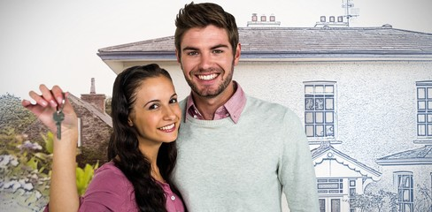 Composite image of cheerful couple holding keys