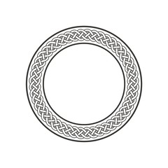 Celtic Knot #3 / ancient round meander art in circle isolated on white