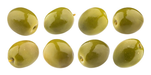 Green olives isolated on white background with clipping path