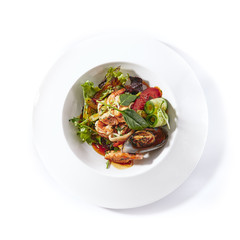 Warm Seafood Salad with Vegetables, Green Leaf Mix and Spicy Dressing