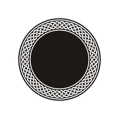 Celtic Knot #4 / White ancient round meander in black circle