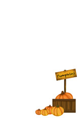 Fall Pumpkins with Sign and Wooden Box