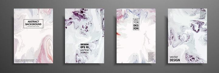 Fototapete - Mixture of acrylic paints. Design template with fluid art. Vector banner with colorful texture. Applicable for covers, presentation, invitation, flyers, annual reports, posters and business cards.