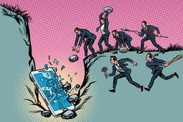 Savages businessmen kill a smartphone. Politics and censorship.