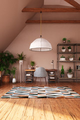 Modern bright open space interior in attic, 3d render