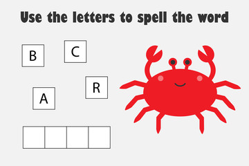 Use the letters to spell the word, crab in cartoon style, educational spelling scramble game for the development of children, kids preschool activity, printable worksheet, vector illustration