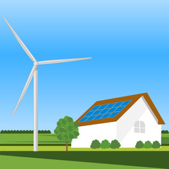Eco residential family house with wind turbine.